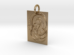 Mother Mary and Infant Christ Abstract Pendant in Polished Gold Steel: Extra Small
