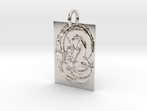 Mother Mary and Infant Christ Abstract Pendant in Platinum: Extra Small