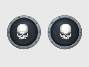 10x Skull - Round Power Shields (L&R) in Smooth Fine Detail Plastic: Small