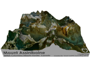 Mount Assinibonine Map - Vibrant in Full Color Sandstone