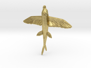 Flying Fish Pendant in Natural Brass
