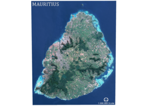 Mauritius Map in Matte Full Color Sandstone