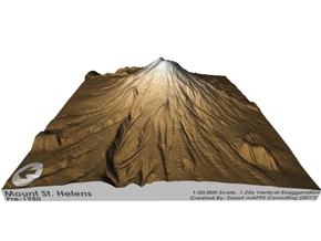 Mount St. Helens Pre-1980 Map: Sepia Relief in Glossy Full Color Sandstone