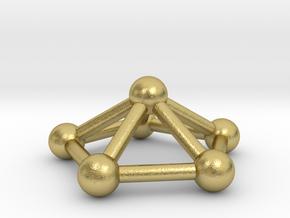 0724 J02 Pentagonal Pyramid V&E (a=1cm) #3 in Natural Brass