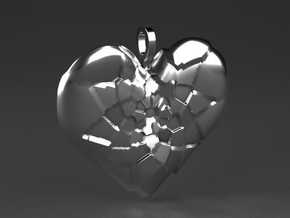 My Shattered Heart - Pendant in Polished Nickel Steel
