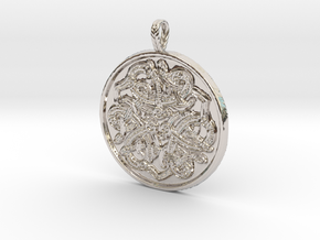 Jelling Style Medallion in Rhodium Plated Brass