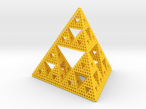 Diamond Sierpinski Tetrahedron in Yellow Processed Versatile Plastic: Small