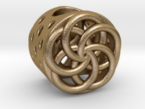 Floral Charm Bead - (Pandora compatible) in Polished Gold Steel