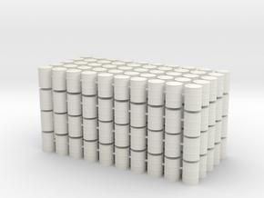200x Fässer / Barrels 1:87 in White Natural Versatile Plastic