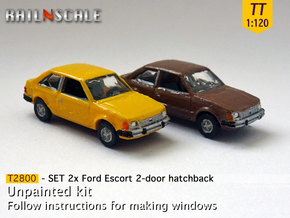 SET 2x Ford Escort 2-door hatchback (US) (TT 1:120 in Smooth Fine Detail Plastic