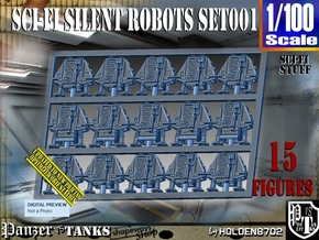 1/100 Sci-Fi Silent Robots Set001 in Smooth Fine Detail Plastic
