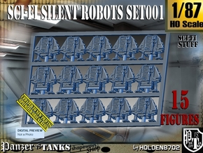 1/87 Sci-Fi Silent Robots Set001 in Smooth Fine Detail Plastic