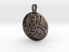 Borre Style Medallion with rope bail in Polished Bronzed-Silver Steel