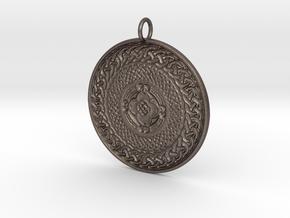 Celtic Shield Medallion - eternal knot in Polished Bronzed-Silver Steel