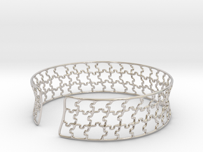 jigsaw pattern cuff in Rhodium Plated Brass: Medium