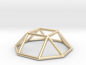 0728 J04 Square Cupola E (a=1cm) #1 in 14k Gold Plated Brass