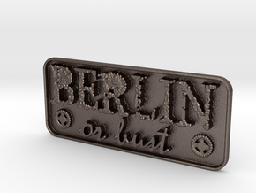 Berlin-or-bust-Plate in Polished Bronzed-Silver Steel