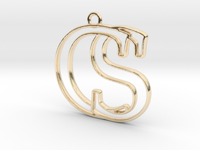 Initials C&S monogram in 14k Gold Plated Brass