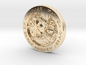 Law/Chaos Coin in 14k Gold Plated Brass: Medium