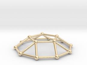0732 J05 Pentagonal Cupola V&E (a=1cm) #2 in 14k Gold Plated Brass