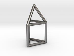 J07 Elongated Triangular Pyramid E (a=1cm) #1 in Polished Nickel Steel