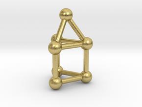 0739 J07 Elongated Triangular Pyramid (a=1cm) #3 in Natural Brass