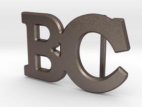 Custom Monogram Belt Buckle - BC in Polished Bronzed-Silver Steel