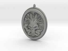 Skull and Snake Pendant 01 - 40mm in Gray Professional Plastic
