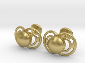 Pacifier Cufflinks in Natural Brass