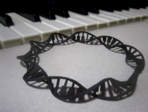 Twisted Piano Keyboard Cuff in Black Professional Plastic: Medium