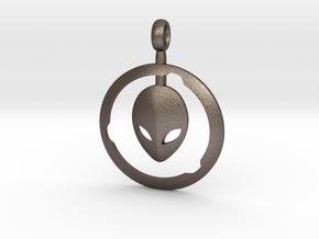 Alien Pendant  in Polished Bronzed-Silver Steel
