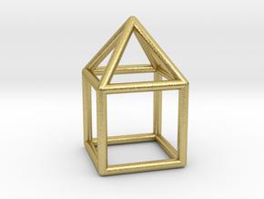 0740 J08 Elongated Square Pyramid E (a=1cm) #1 in Natural Brass