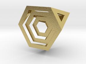 Encompassing Tetrahedron - Pendant in Natural Brass (Interlocking Parts)