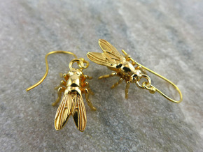 Drosophila Fruit Fly Earrings - Science Jewelry in 14k Gold Plated Brass