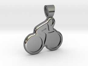 Biking [pendant] in Polished Silver
