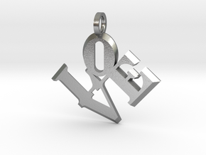 Love Sculpture pendant in Natural Silver: Extra Small