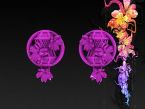 15/16 Inch Hanging Asian Lantern Plugs in Purple Strong & Flexible Polished