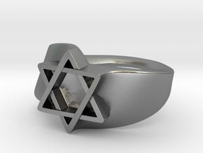 Ring David Star Size 9 in Natural Silver