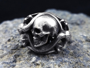 Skull Ring Memento Vivere in Antique Silver: 9.5 / 60.25