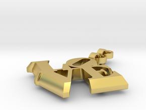 Love sculpture key fob in Polished Brass (Interlocking Parts)