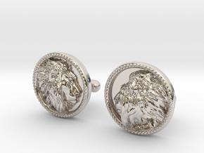 Lion Head Cufflinks No.2 in Rhodium Plated Brass