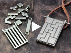 Tetrominoes Puzzle Pendant in Stainless Steel