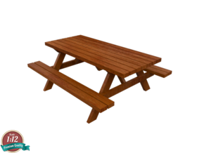 Miniature Picnic Table  in White Natural Versatile Plastic: 1:12