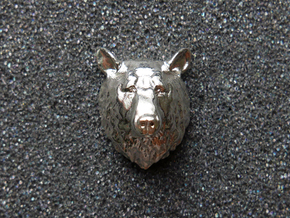 Bear Head Lapel Pin in Natural Silver