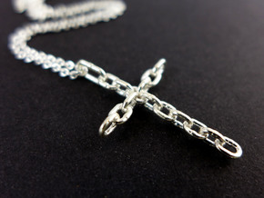 Chain Cross Pendant - Christian Jewelry in Natural Silver