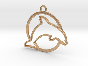 Dolphin & circle intertwined Pendant in Natural Bronze