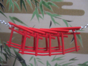 repetitive torii gate necklace in Red Processed Versatile Plastic