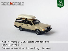 Volvo 240 GLT Estate with roof box (N 1:160) in Smoothest Fine Detail Plastic