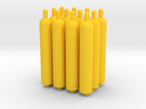 1:50 Gas Cylinders Pack of twelve  in Yellow Processed Versatile Plastic