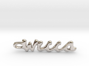 """Vertical """"Wicca"""" Word Pendant in Rhodium Plated Brass"""